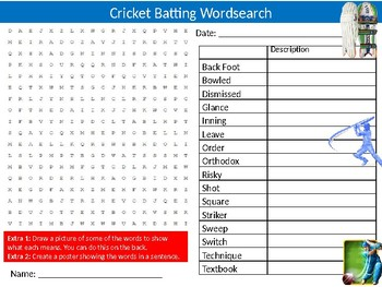 Cricket Batting Wordsearch Sheet Sports Studies PE Starter Activity Keywords