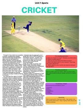 Cricket - ESL Reading w/ Comprehension Check, Vocab Review & Activities