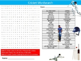 Cricket Wordsearch Puzzle Sheet Keywords PE Sport Health & Fitness