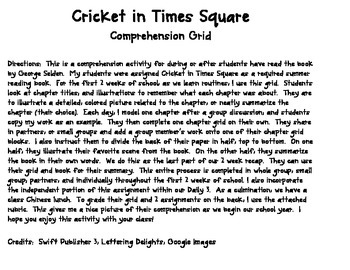 Cricket in Times Square Comprehension
