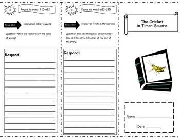 Cricket in Times Square Storytown Comprehension Trifold