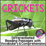 Crickets Differentiated Reading Passages, Vocabulary & Com