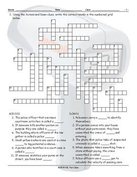Crime-Law Enforcement-Courts Crossword Puzzle