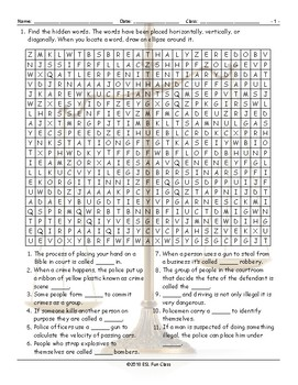 Crime-Law Enforcement-Courts Word Search Worksheet