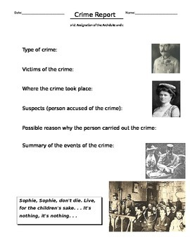 Crime Report the Assassination of Franz Ferdinand, Grade 10 Canadian History