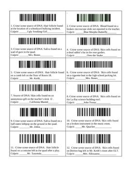 Crime Scene DNA Fingerprinting Lab with Key for Bar Codes ...