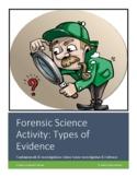Crime Scene Investigation Worksheet: Types of Evidence