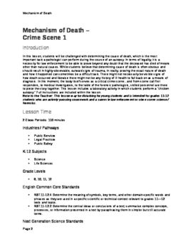 Crime Scenes and the Professionals Who Work Them; A Classroom STEM Unit
