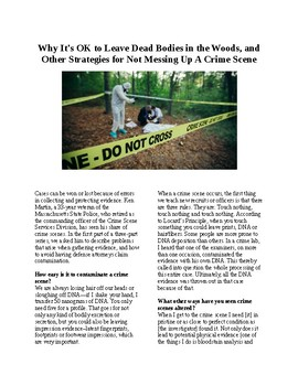 Crime and Forensics - How to not mess up a crime scene (no prep/sub plans)
