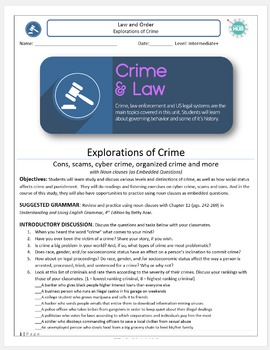Crime and Law (B): Explorations of types of crime (Adult ESL Unit)