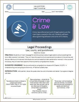 Crime and Law (Unit C Packet): Legal Proceedings (with adjective clauses)