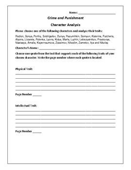 Crime and Punishment Character Analysis Activity - Fyodor Dostoyevsky