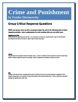 Crime and Punishment - Dostoyevsky - Group Critical Response Questions