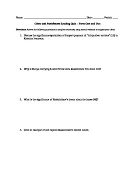 Crime and Punishment Reading Quiz - Parts 1 and 2