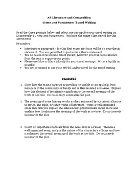 Crime and Punishment Timed Writing Prompts