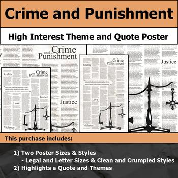 Crime and Punishment - Visual Theme and Quote Poster for Bulletin Boards