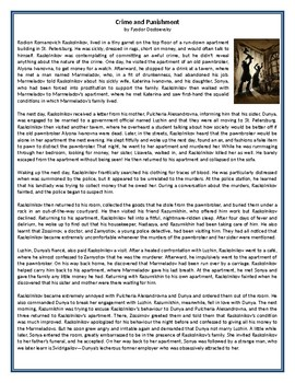 Crime and Punishment - by Fyodor Dostoevsky - GCSE Reading Comprehension