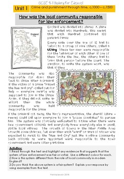 Crime and punishment through time c.1000-c.1500 Revision Guide & Workbook