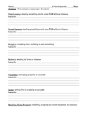 Crimes Against People and Property Worksheet - students write scenarios