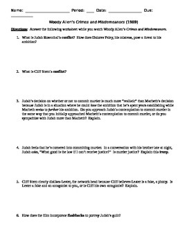 Crimes and Misdemeanors Film (1989) Comparison to Macbeth Worksheet