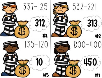 Criminal Jailbreak: Double and Triple Digit Addition and Subtraction Task Cards