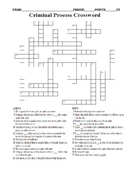 Criminal Process Crossword worksheet arrest, indictment, arraignment, trial