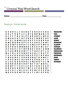 Criminal Trial Word Search