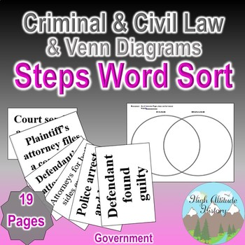 Criminal and Civil Cases Steps Word Sort + Criminal and Civil Cases Venn x2