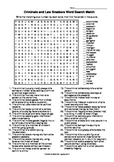 Criminals and Law Breakers Word Search Match