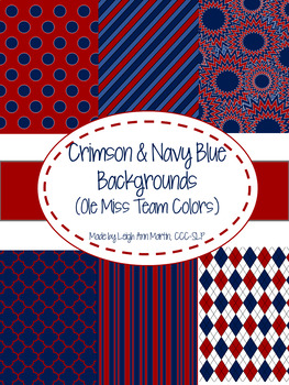 Crimson & Navy Blue Digital Papers (Ole Miss Team Colors)