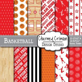 Crimson Red Basketball Digital Paper 1290