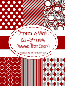 Crimson & White Digital Papers (University of Alabama Team Colors)