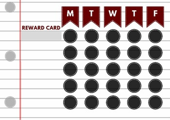Crimson and Black Lined Paper Reward Card