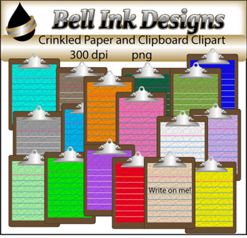 Crinkled Paper on Clipboards Clipart