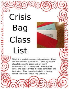 Crisis Bag Class List Packet