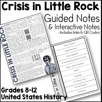 Little Rock Nine Guided Notes and Interactive Notes Page