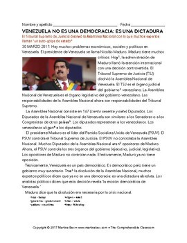 Crisis in Venezuela: 8 news articles in Spanish from 2016-2017