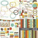 Crisp Fall Digital Paper Clip Art Kit Teacher Supplies