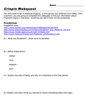 Crispin and Middle Ages Webquest (Prereading) (MS Word)