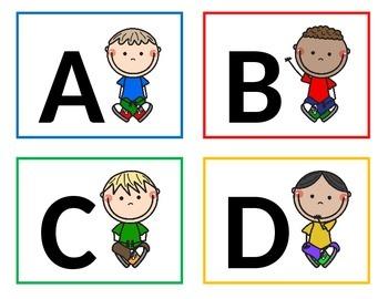 Criss Cross Boys Word Wall Letters - Alphabet Flashcards.