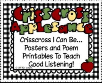 Crisscross Rules For Good Listening Posters, Poem and Book Printables!