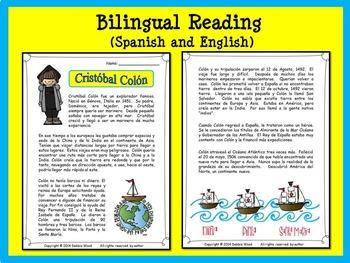 Spanish Christopher Columbus (Cristobal Colon) Bilingual Reading