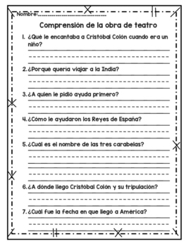 Cristóbal Colón obra de teatro, poema, / Christopher Columbus Readers theatre
