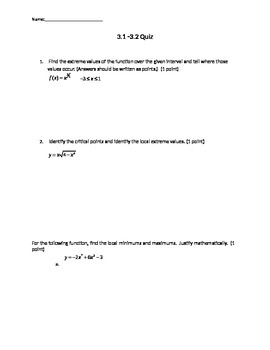 Critcal Points, Minimums, and Maximums Quiz.