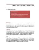Critères d'évaluation de la participation orale