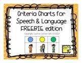 Criteria Charts for Speech & Language FREEBIE edition