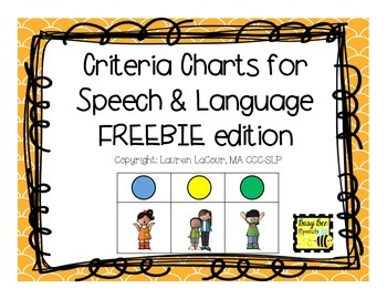 Criteria Charts for Speech & Language FREEBIE edition