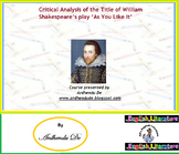 Critical Analysis of the Title of William Shakespeare's pl