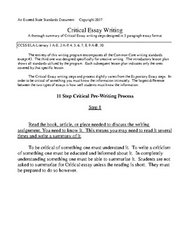Critical Essay Writing Steps