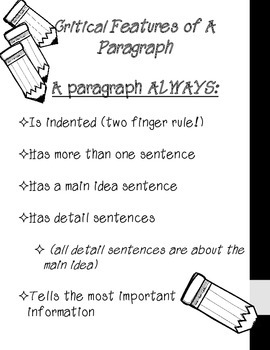 Critical Features of a Paragraph